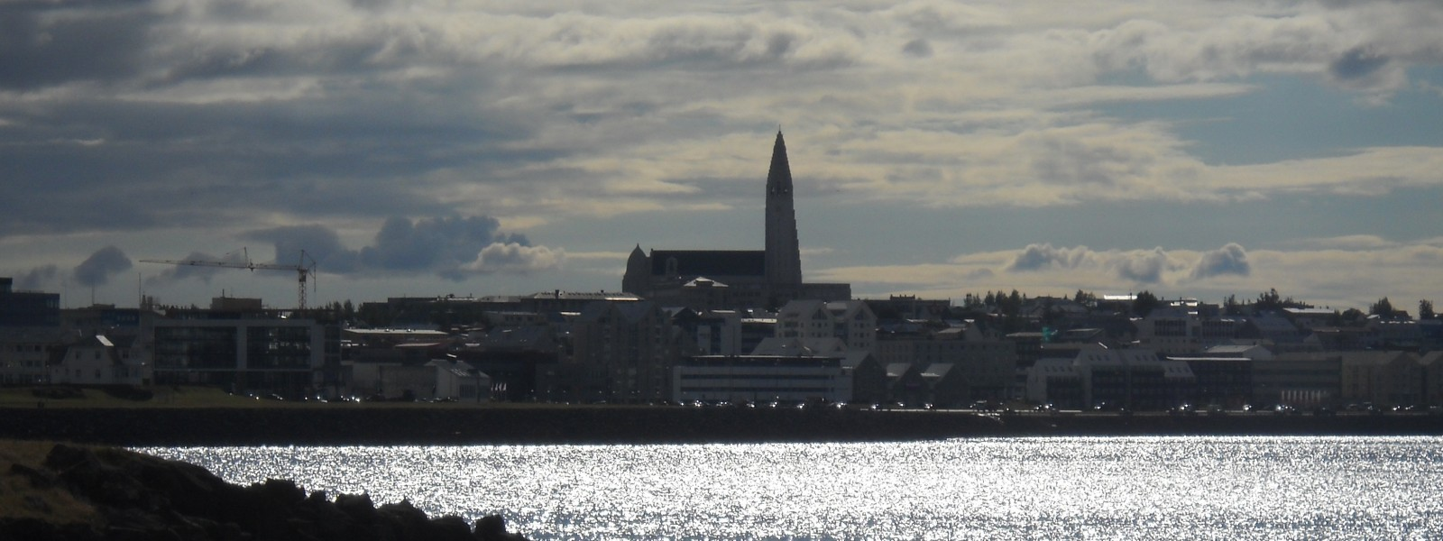 View of reykjavik and the church Hallgrimskirkja reaching to the sky